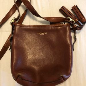 BROWN LEATHER COACH BUCKET BAG CROSSBODY